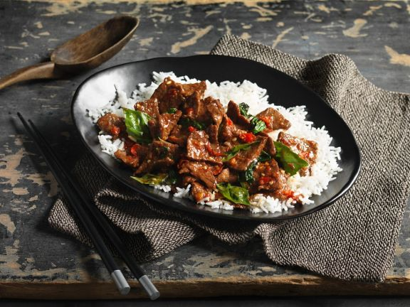 Spicy Beef with Thai Basil on Rice