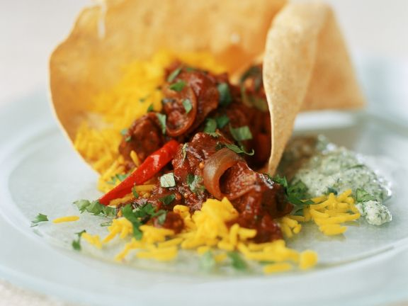 Spicy Lamb Curry with Saffron Rice and Papadums