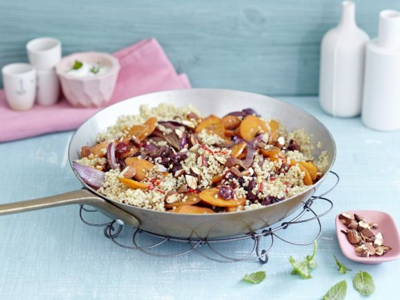 Spicy Quinoa Pilaf with Cranberries, Apricots and Almonds