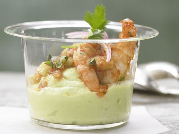 Spicy Shrimp with Avocado Cream