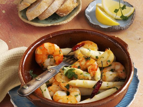 Spicy Shrimp with White Asparagus