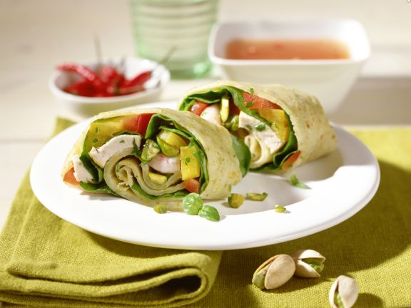 Spicy Stuffed Wraps with Pistachios and Ginger Sauce