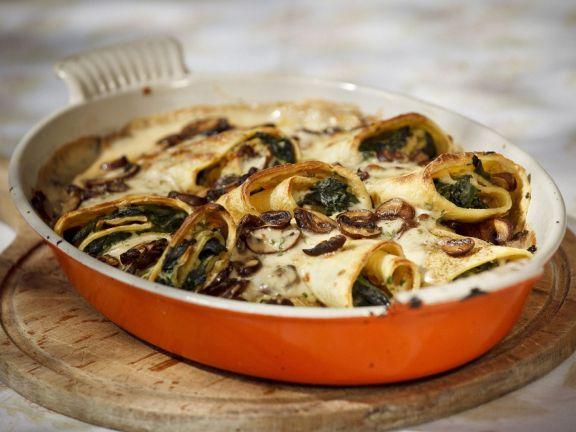 Spinach and Mushroom Crêpe Gratin