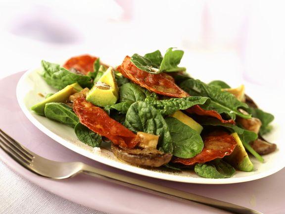 Spinach Avocado Salad with Salami