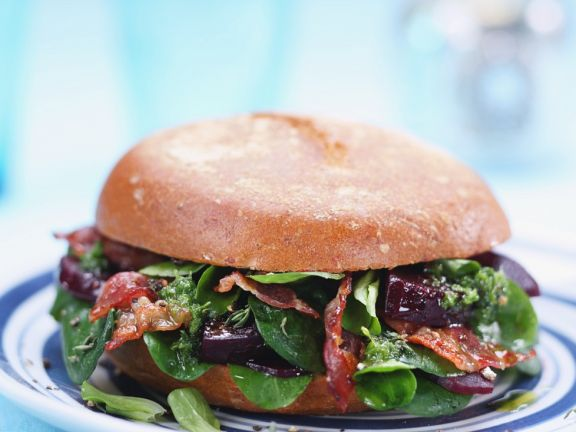 Spinach, Beet and Bacon Sandwiches