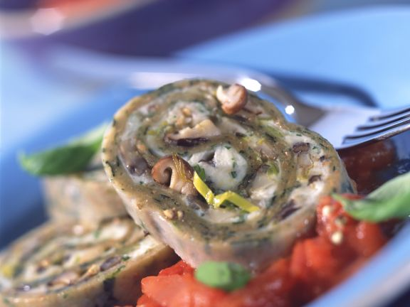 Spinach Pasta Roulade with Mushroom Stuffing