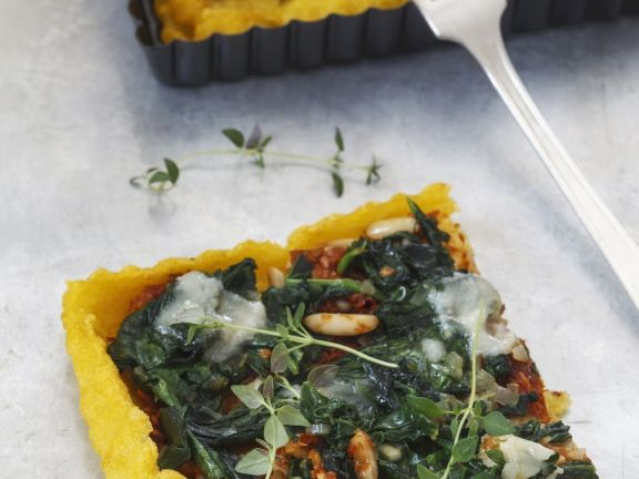Spinach. Pine Nut and Parmesan Cornmeal Flan