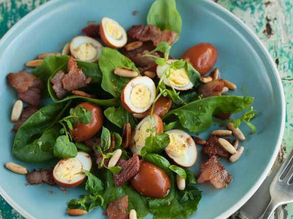 Spinach Salad with Bacon and Quail Eggs