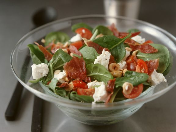 Spinach Salad with Goat Cheese and Ham