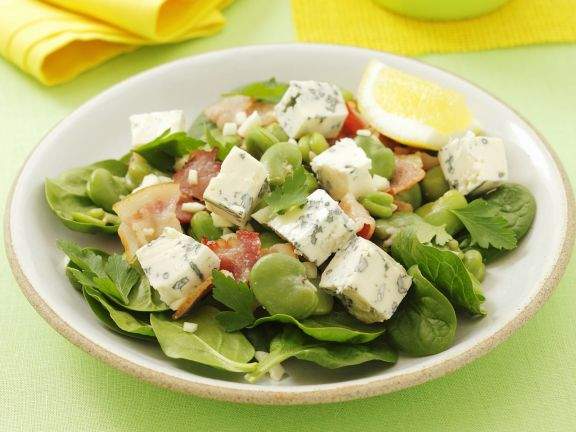 Spinach Salad with Gorgonzola, Broad Beans and Garlic