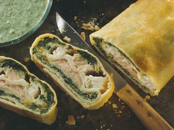 Spinach Strudel with Salmon and Perch