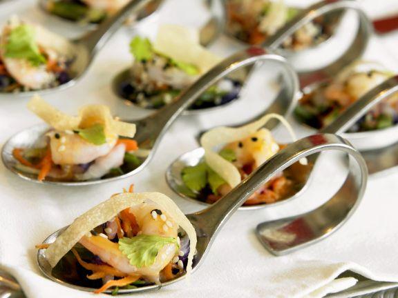 spoon appetizers with shrimp and vegetables recipe eat smarter usa. Black Bedroom Furniture Sets. Home Design Ideas
