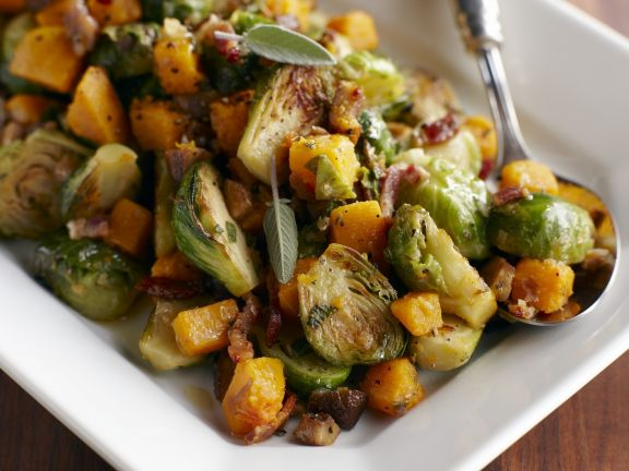 Squash and Brussels Sprouts Hash