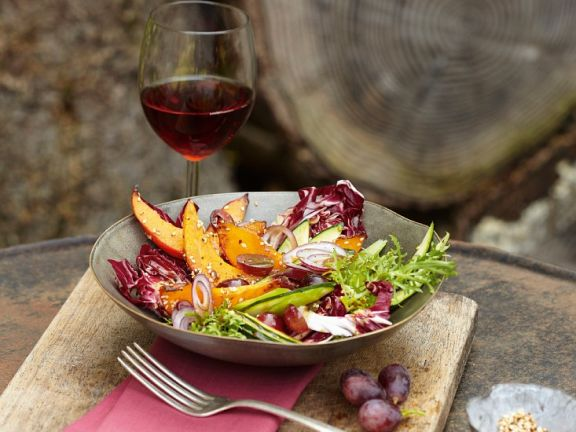 Squash and Radicchio Salad with Grapes