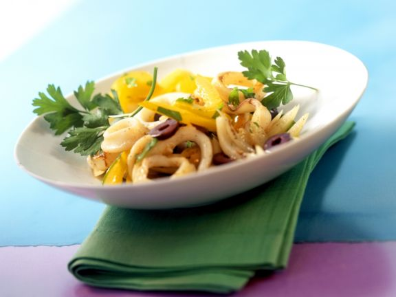 Squid Salad Portuguese Style with Peppers and Olives