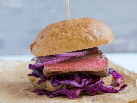 Steak and Pickled Red Cabbage Sandwich