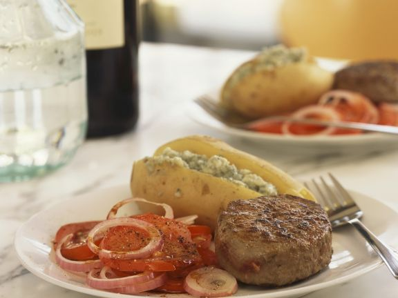 Steak and Stuffed Baked Potatoes with Tomato Salad
