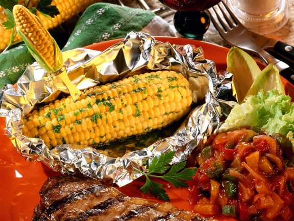 Steak with Grilled Corn