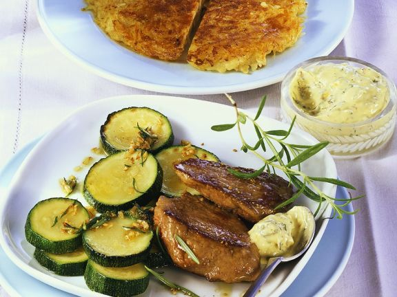 Steak with Hash Browns and Zucchini