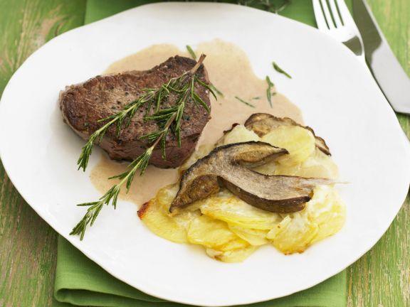 Steak with Porcini Mushroom and Potato Gratin