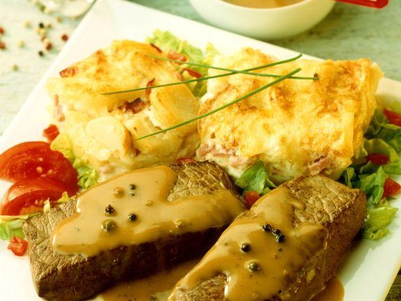 Steaks with Potato Gratin