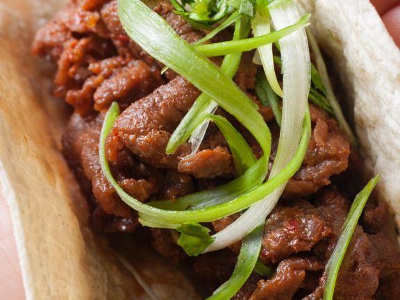 Stif-Fried Beef on Flatbread