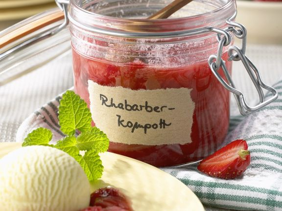 Strawberry and Rhubarb Compote with Vanilla Ice Cream