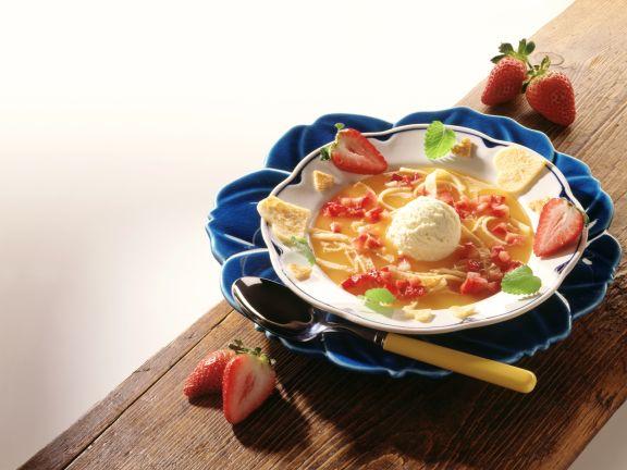 Strawberry Gazpacho with Pancake Strips