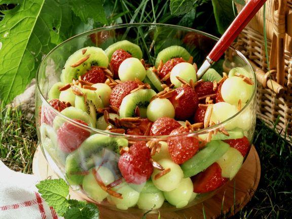 Strawberry, Honeydew and Kiwi Salad with Almonds