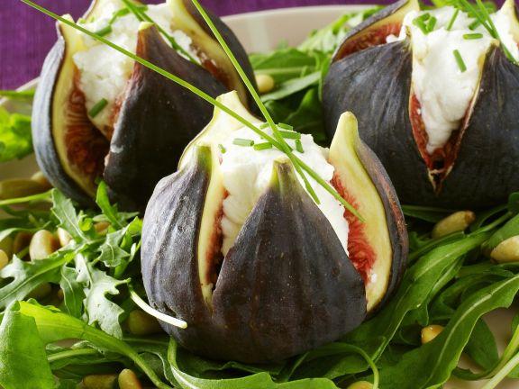Stuffed Figs on Pine Nut and Rocket Salad