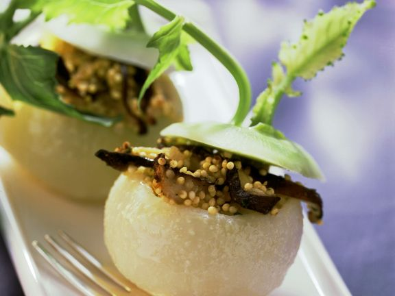 Stuffed Kohlrabi with Millet and Mushrooms