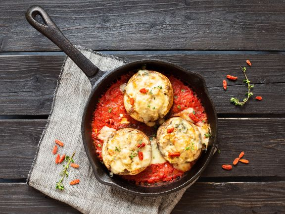 Stuffed Mushrooms on Tomato Sauce