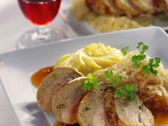 Stuffed Pheasant and Sauerkraut