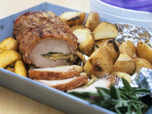 Stuffed Pork with Potatoes and Apples