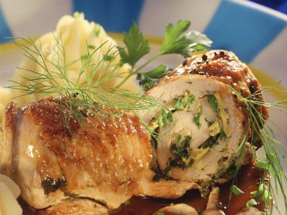 Stuffed Turkey Rolls with Mashed Potatoes