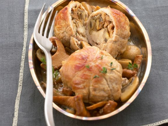Stuffed Veal Parcels with Mixed Mushrooms