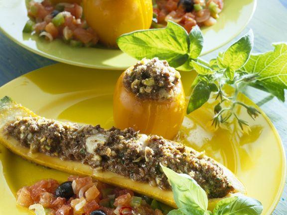 Stuffed Zucchini and Tomatoes