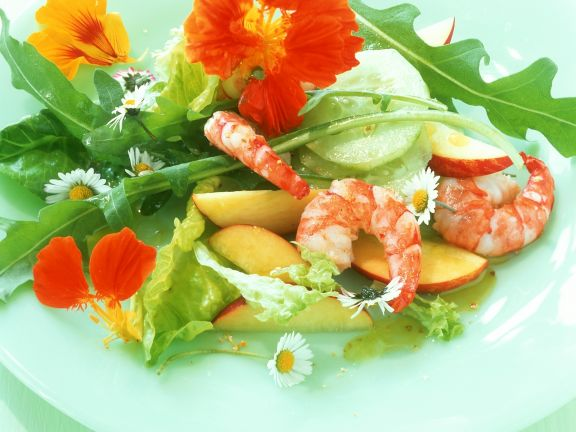 Summer Salad with Apple, Shrimp and Edible Flowers