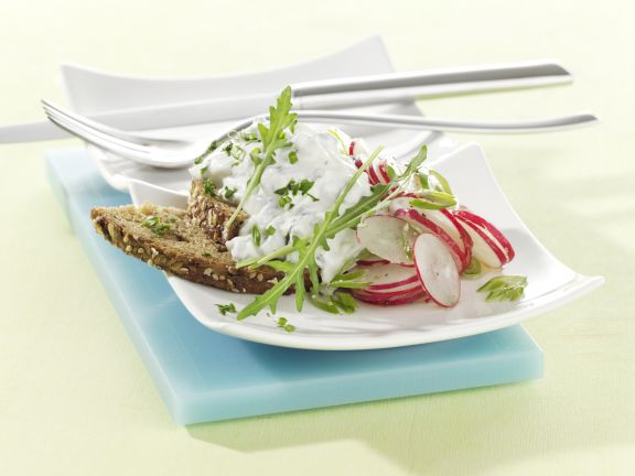 Sunflower Seed Bread with Herbed Quark and Radish Salad