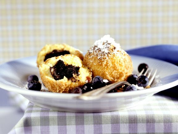 Sweet Poppy Seed Dumplings with Blueberries