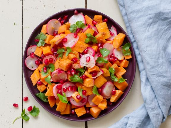 Sweet Potato and Radishes with Pomegranate Seeds