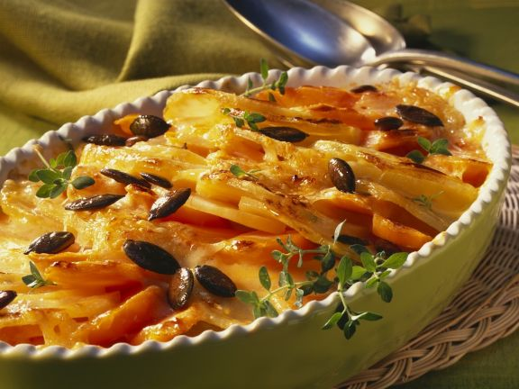 Sweet Potato Carrot Gratin with Pumpkin Seeds