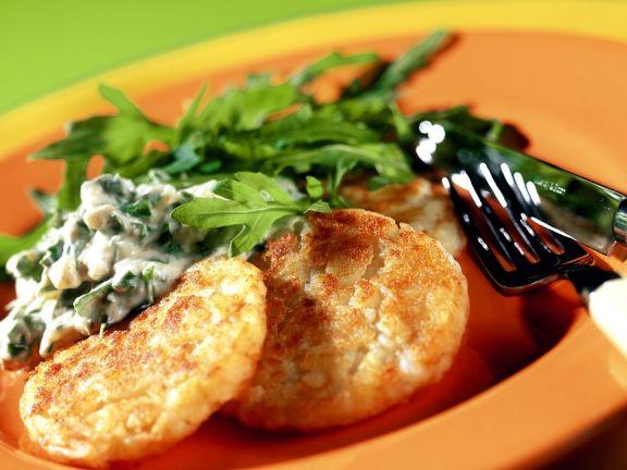 Sweet Potato Pancakes with Cheese Sauce