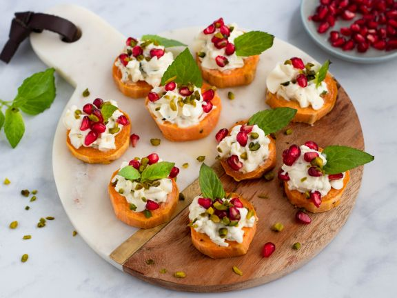 Sweet Potato Slices with Goat Cheese & Pomegranate