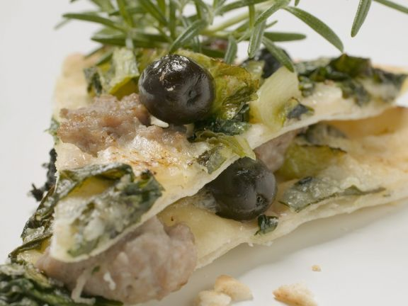 Swiss Chard and Tuna Pizza with Olives