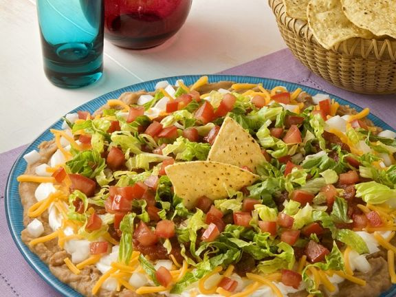 Taco Dip with Beans, Sour Cream and Vegetables