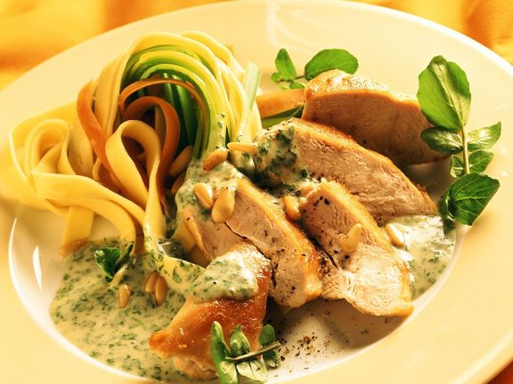 Tagliatelle with Roasted Chicken and Chervil Cream Sauce
