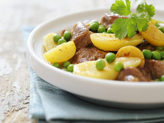 Tajine with Lamb, Lemon, Peas and Potatoes
