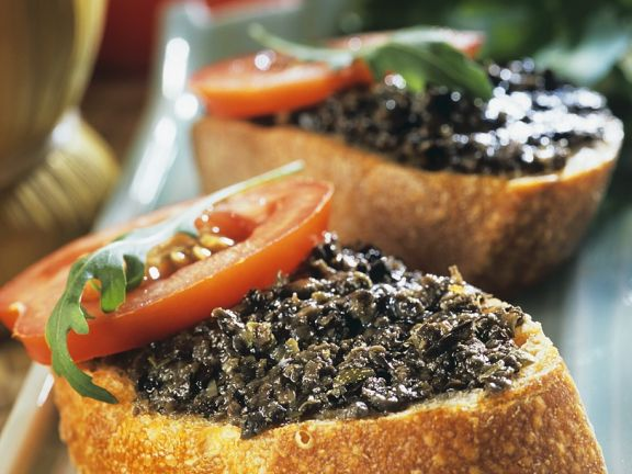 Tapenade on Toasted Baguette Slices