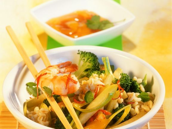 Tender Wheat and Shrimp Sauté